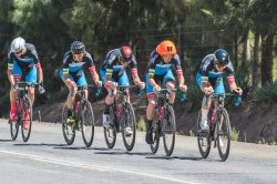Caption: The OfficeGuru Racing outfit took the honours in the 26.5km team time-trial on the third day of the Takealot Tour of Good Hope in the Cape Winelands today. The five-stage road cycle race finishes at the Taal Monument near Paarl on Friday. Photo: Henk Neuhoff Photography