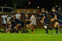 CAPTION: FNB Madibaz player Dundre Maritz distributes the ball from a ruck during their FNB Varsity Shield rugby match against University of KwaZulu-Natal in Maritzburg last week. Madibaz, who won 41-12, will be back in action on Monday after a bye this week. Photo: Jethro Snyders Photography