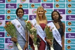 CAPTION: Shandre Hoffman was crowned Miss UJ Varsity Cup at the crowning ceremony in Johannesburg on Monday. With her are first princess Mohau Matinketsa (left) and second princess Mavelous Mhlanga (right). Photo: Kimara Singh