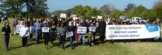 Students and staff members during the 'Silent March' against gender-based violence held simultaneously early this year at NMMU George Campus, Port Elizabeth campuses of NMMU, and other universities in the eastern and southern Cape.