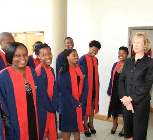 The NMMU George Campus Choir warmly welcomed Chancellor Botha at the lecture venue where she spent time to become better acquainted with the students and guests.