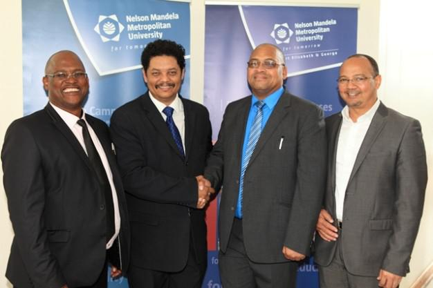Partners in progress…. South Cape College CEO, Mr Luvuyo Ngubelanga (left), Prof Quinton Johnson, NMMU George Campus Principal, Alderman Charles Standers, Executive Mayor of George and the Municipal Manager, Mr Trevor Botha, proudly representing the education sector and local government as some of the key stakeholders in the sustainable growth of the region.