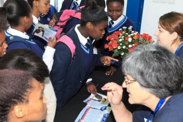 Mrs Magda Eybers and Natalie du Plessis assisting learners at the Admissions stall.