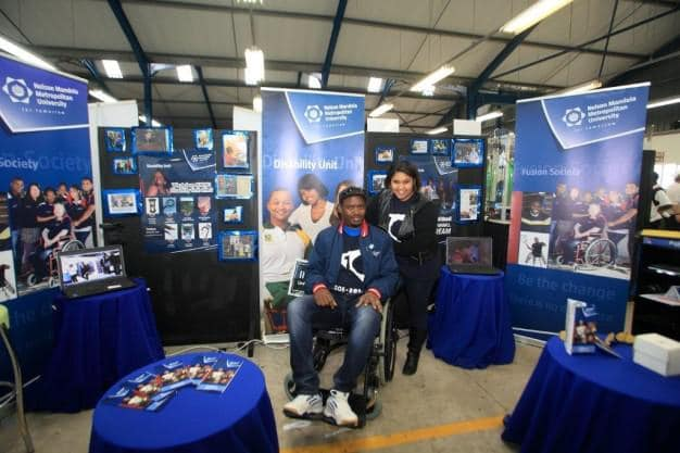 Ms Sheri-Ann Pietersen and Mr Louis Harris from the NMMU Disability Unit at their award-winning stall.