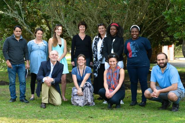 COMMITTED TEAM… Prof Christo Fabricius (front left), leader of the NMMU Sustainability Research Unit (RSU) with some members of the Unit - masters students (front) Samantha McCulloch, Verouschka Sonn and Peet Botes; and, at the back, postgrad fellows, Dr Yashwant Rawat and Dr Chloe Guerbois; Rosie Gerolemou (masters student); SRU Co-ordinator Corita Louser (and contact person for the Hacking Day); lecturer and PhD student, Bianca Currie; Bekezela Nxumalo (masters student) and Tatenda Mapeto, PhD student in Forestry.
