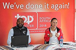 TNPA Mossel Bay Corporate Affairs Officer, Sithembiso Soyaya and Lynne-Ann Prins of the Port's Procurement department.