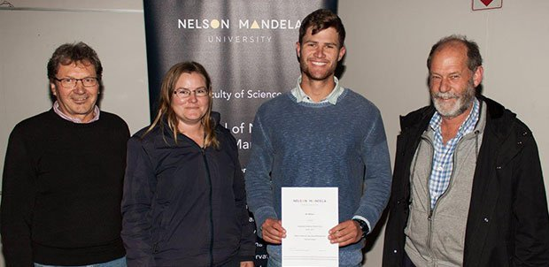 The Award for Sustained Academic Performance over the three-year study period in the Diploma: Agricultural Management was made to three deserving students - Ian Wilson, Anitta Maqashalala (not present) and Rene Clowes (currently working in Australia). Pictured is, (f.l.t.r.) Johan Jordaan, Catherine Eckert (part-time Lecturer in Plant Production), Ian Wilson and Prof Raymond Auerbach.