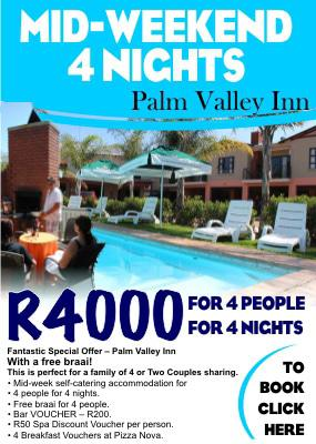 Mid-week Accommodation Special Offer in Hartbeespoort at Palm Valley Inn
