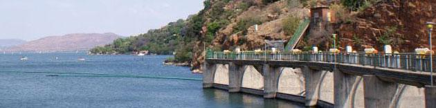 View of Hartbeespoort Dam from the dam wall.