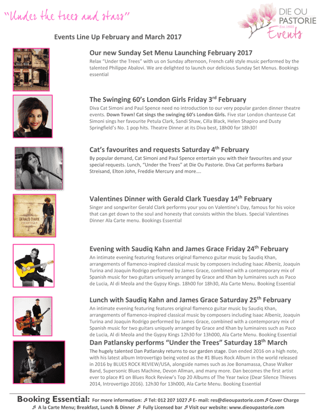 Music Events line-up at Die Ou Pastorie in Hartbeespoort