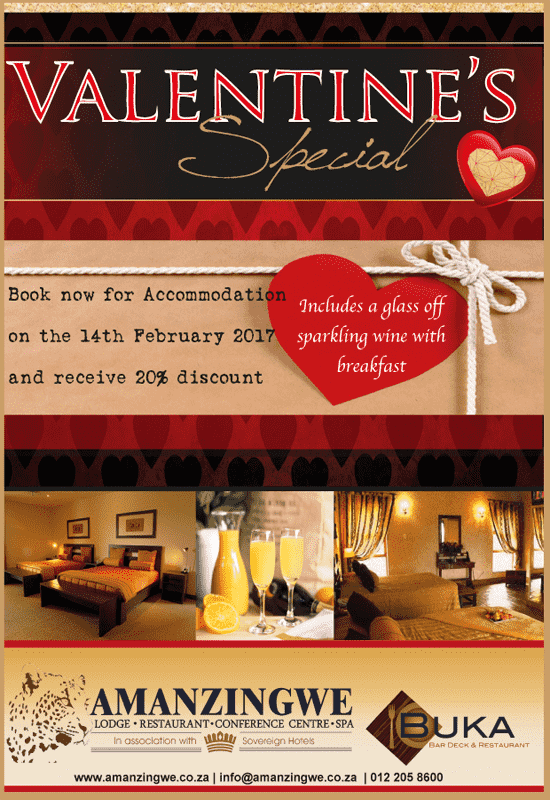 Valentines Day Dinner Special @ Amanzingwe Lodge
