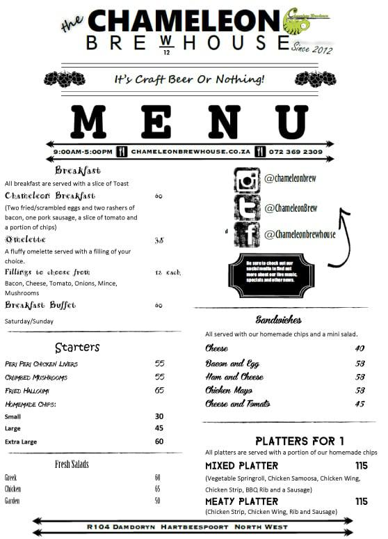 Chameleon Brewhouse Hartbeespoort Menu