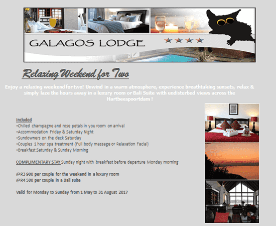 Hartbeespoort Relaxing weekend For two @ Galagos Lodge
