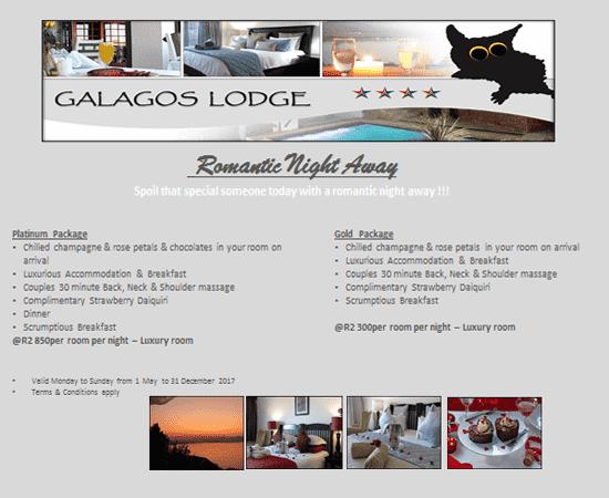 Hartbeespoort Romantic Night Away @ Galagos Lodge