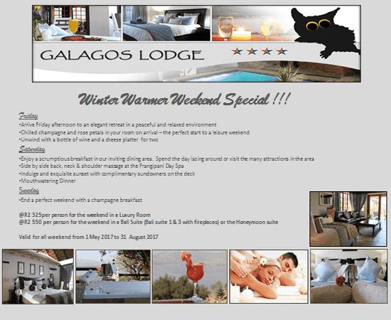 Hartbeespoort Winter Warmer Special @ Galagos Lodge