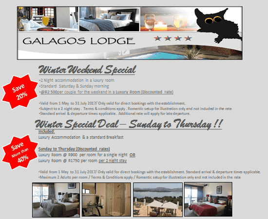 wINTER wEEKEND sPECIAL @ gALAGOS lODGE