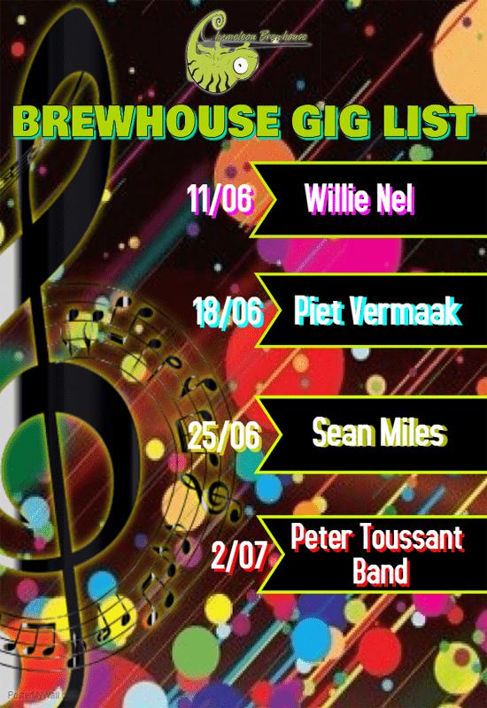 Chameleon Brewhouse Gig List for June / July