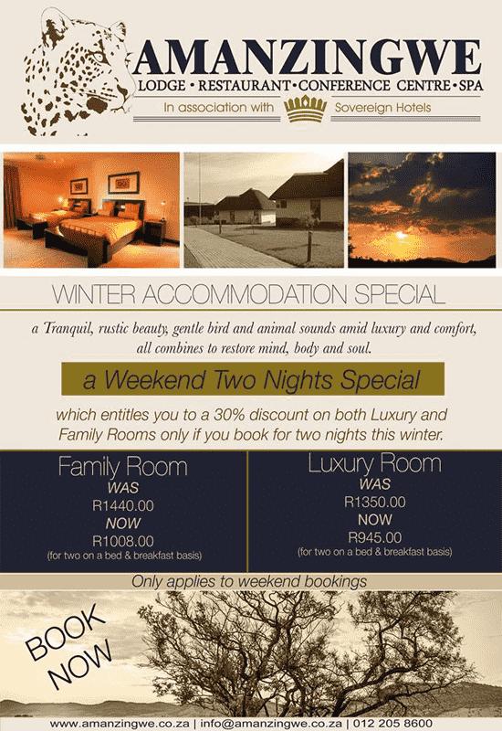 Winter Accommodation Specials @ Amanzingwe Lodge