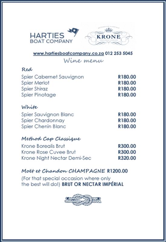 Harties Boat Co Winelist