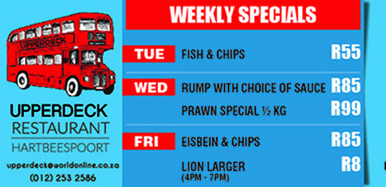 Weekly Specials at Upperdeck Restaurant