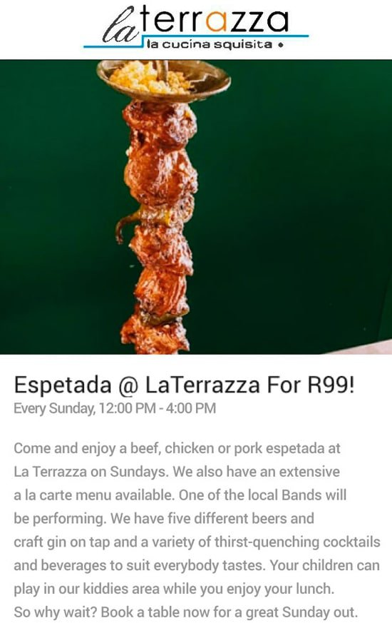 Espetada Sundays at La Terrazza Restaurant | R99