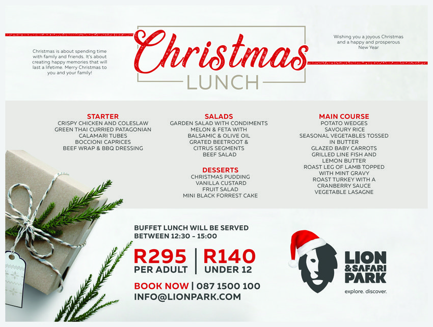 Lion & Safari Park | Christmas Lunch Menu