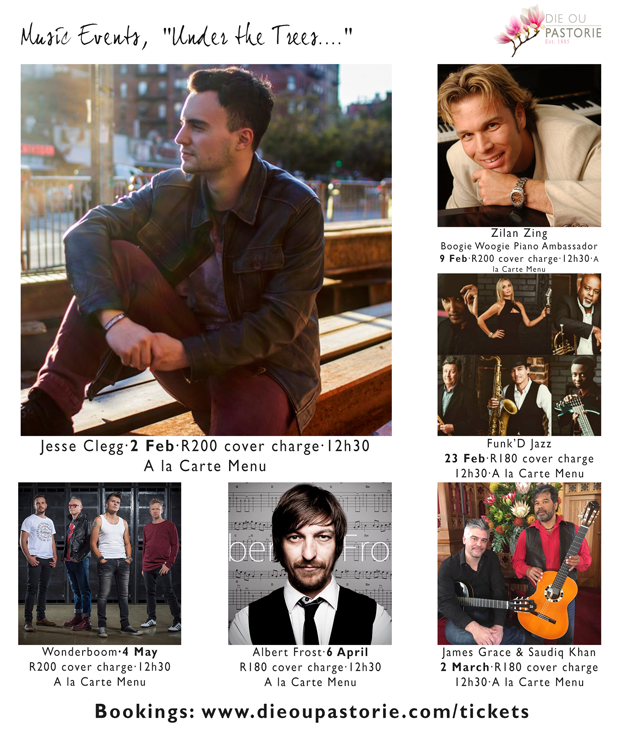 Upcoming Music Line-up at Die Ou Pastorie