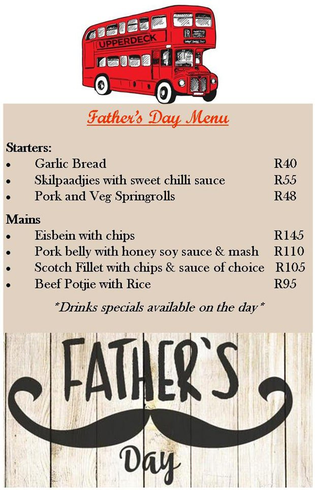 Upperdeck Father's Day Menu