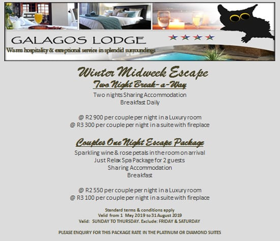 Winter Special Offer at Galagos Lodge