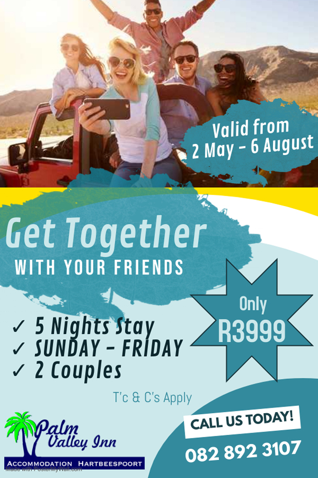 Get Together Special Offer at Palm Valley Inn   Hartbeespoort