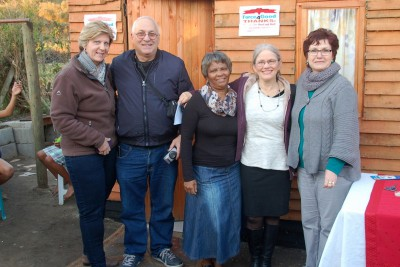 Fiela with Philip Michalitis and Rita Olsen (Force4Good) and Gordons Bay Lion Club members Annette van Heerden and Paula Lang.