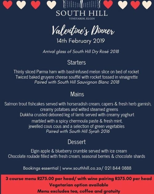 South Hill Valentines Dinner