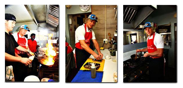 Mahois Chef, John Robinson shows Renaldo Bothma how to cook a Valentines dinner