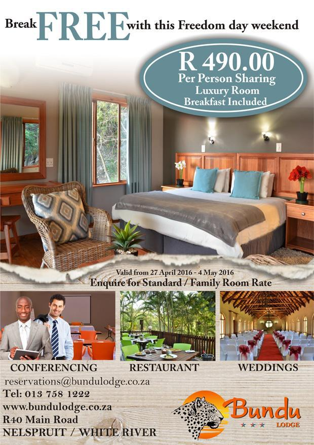 Bundu Lodge Freeom Day Special Rates Nelspruit