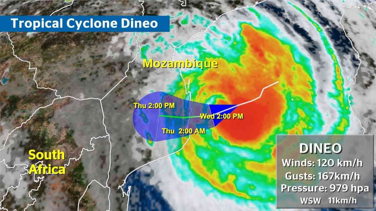Cyclone Dineo - Likely Path
