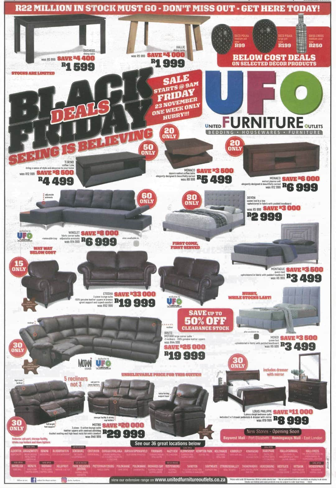 Ufo Furniture Black Friday Specials 23 November 2018