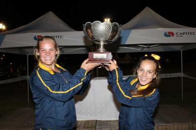 Atletiekkapteine, Nicolene Ras (Links) en Elmie Odendaal (Regs), trots die wentrofee om hoog