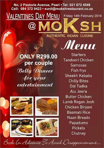 Valentine S Day Menu At Moksh Indian Restaurant Paarl