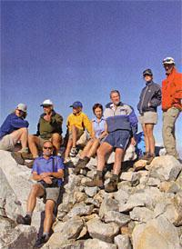Johan Uys and a group of hikers