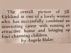 News clipping about Jill written by Angela Malan