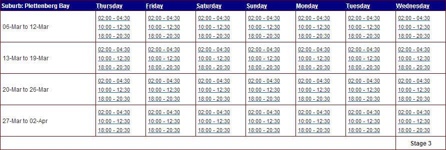 Eskom Loadshedding: Eskom Load Shedding Schedule