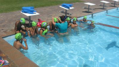 Students with their new sponsored goggles and swimming caps - thank you Nature Sport!
