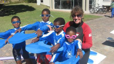 Adopt a Swimmer students all ready to get in the water!