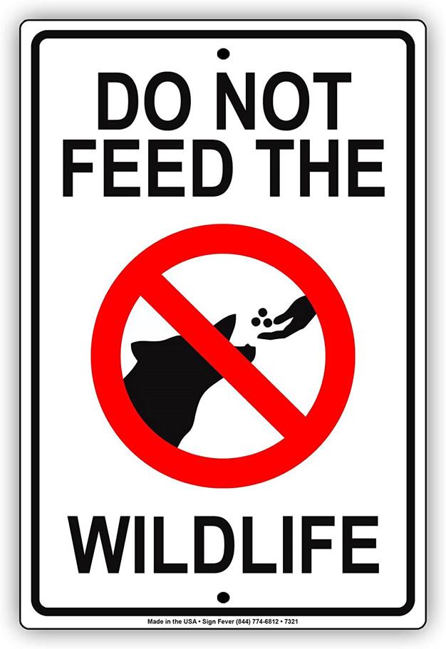Do not feed the wildlife