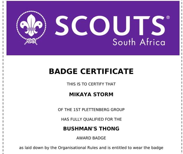 Mikaya Storm recieves Springbok Award