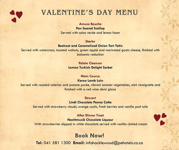Valentines Day Fine Dining At Hacklewood Hill Port