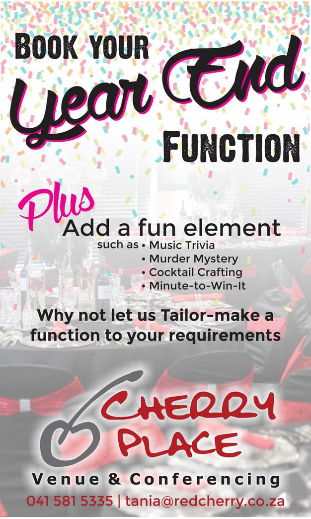 Book your year end function at cherry place port elizabeth