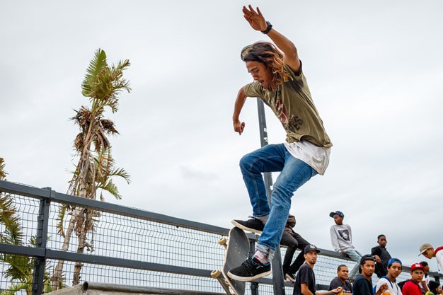 FLYING HIGH: Judo Chop (25) performing stunts on his skateboard at the Kings Beach Development Skateboarding Contest which took place recently. The contest was aimed at promoting and encouraging skateboarding amongst the youth of Port Elizabeth and is supported by Mandela Bay Development Agency.