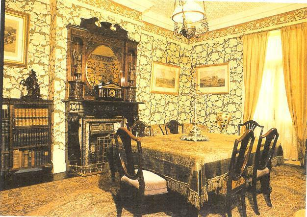 Postcard available at the Melrose House Museum of one of the antique living rooms