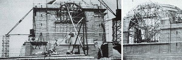 Construction of Voortrekker Monument. Photos from Vermeulen, I. (1999). Man en Monument; Die lewe en werk van Gerard Moerdijk. J.L. van Schaik Publishers.
